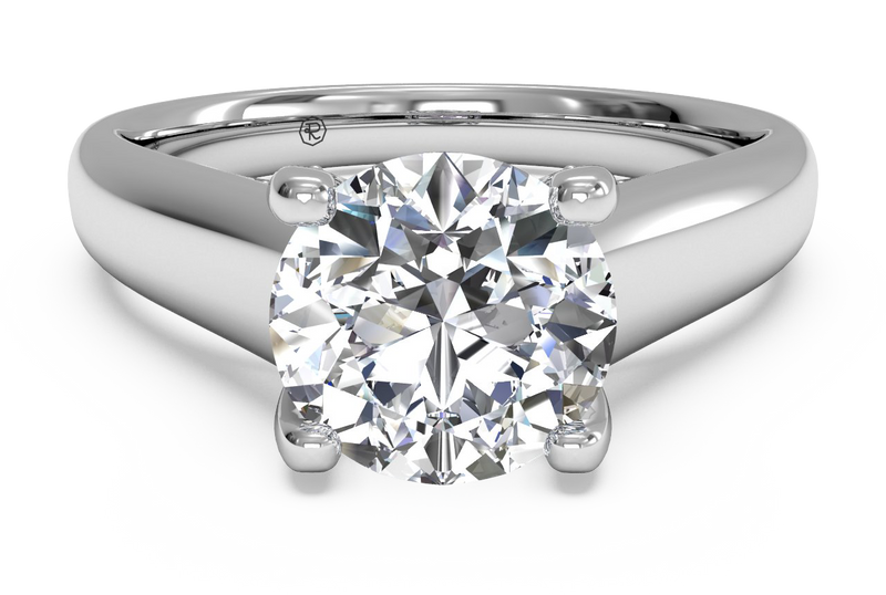 Ritani Solitaire Diamond Engagement Ring with Pavé Tulip Detail