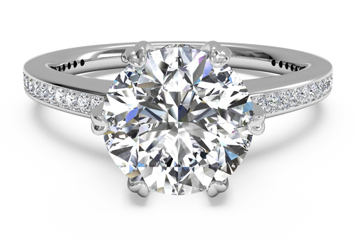 Ritani Solitaire Diamond Six-Prong Micropavé Band Engagement Ring