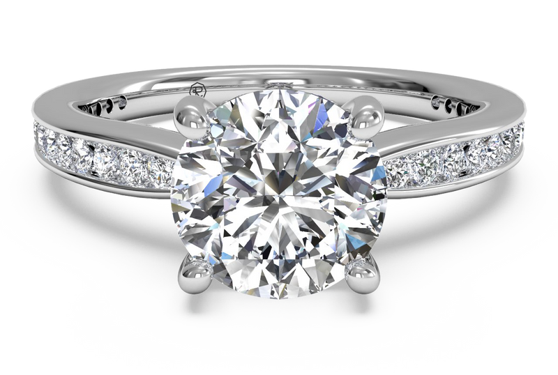 Ritani Tapered Channel-Set Diamond Band Engagement Ring