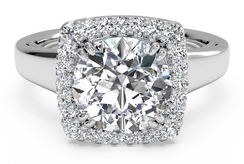 Ritani Cushion French-Set Halo Diamond Engagement Ring
