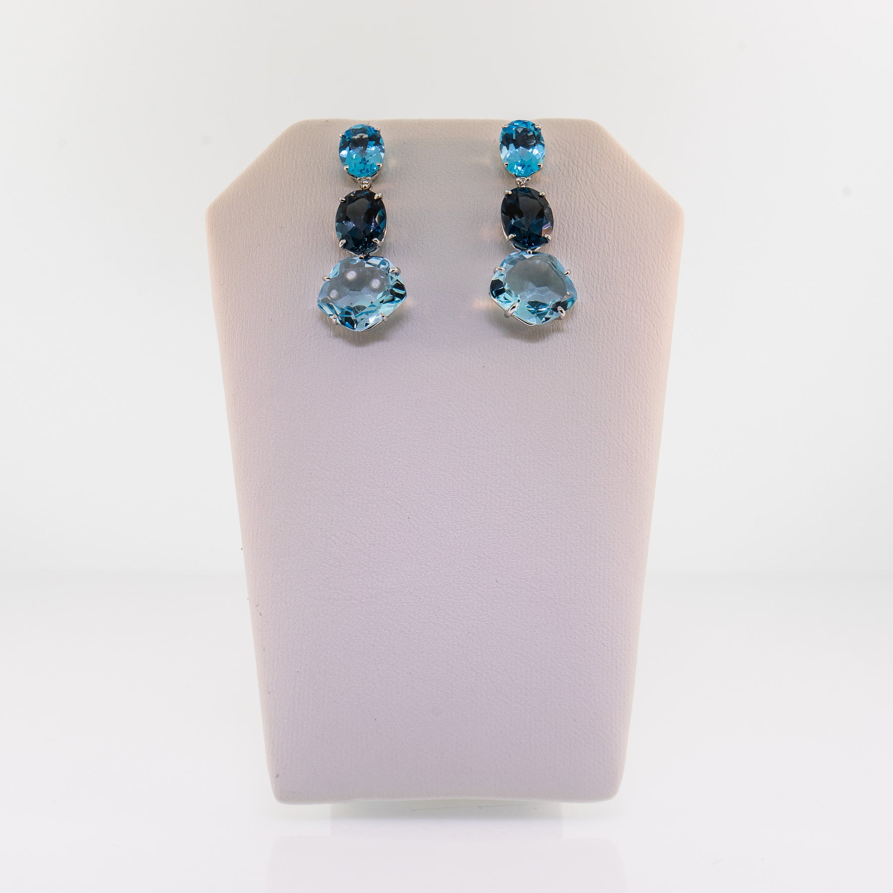 c13b3cd09a367 White Gold London Blue Topaz and Diamond Drop Earrings