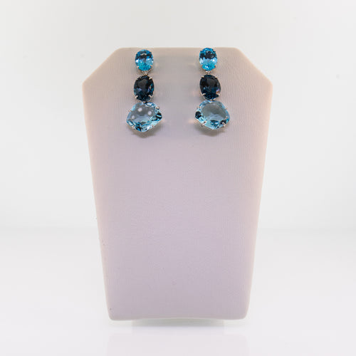 White Gold London Blue Topaz and Diamond Drop Earrings
