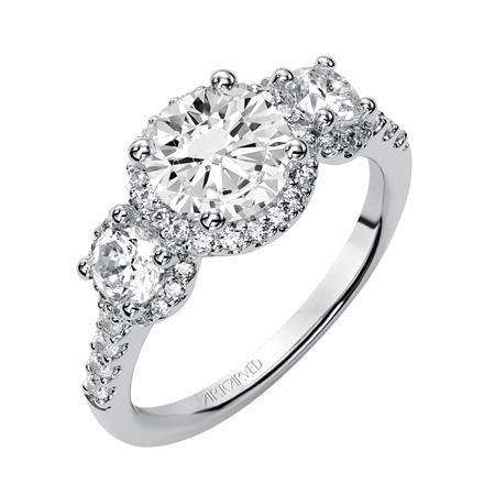 Lady's White 14 Karat Engagement Ring Size 6.5 With 51=0.84Tw Round Diamonds
