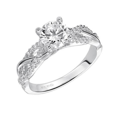 Lady's White 14 Karat Engagement Ring Size 6.5 With 45=0.22Tw Round Diamonds
