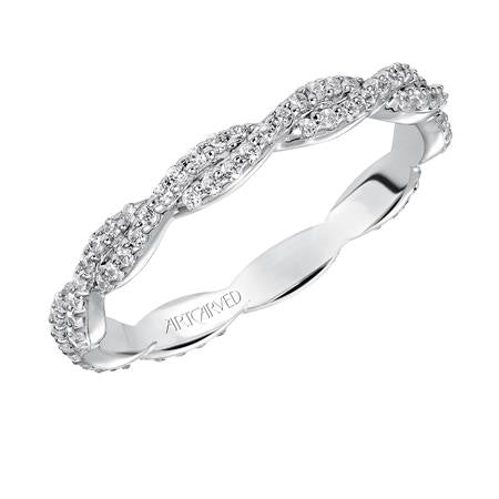 Braided Diamond Wedding Band