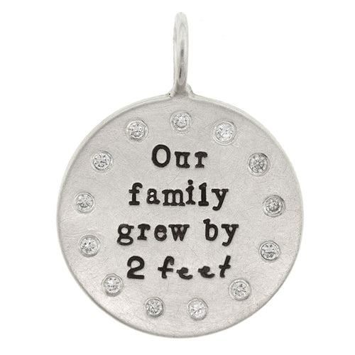 "Heather B. Moore Silver ""Our Family Grew By 2 Feet"" Charm"