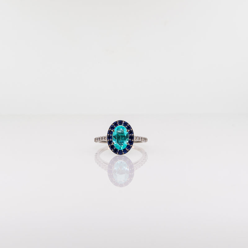 Blue Tourmaline and Sapphire Oval Ring