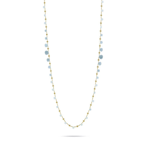 18K Yellow Gold & Aquamarine Graduated Long Necklace