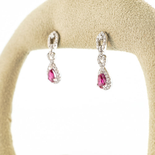 Dangle Ruby Earrings with Diamonds