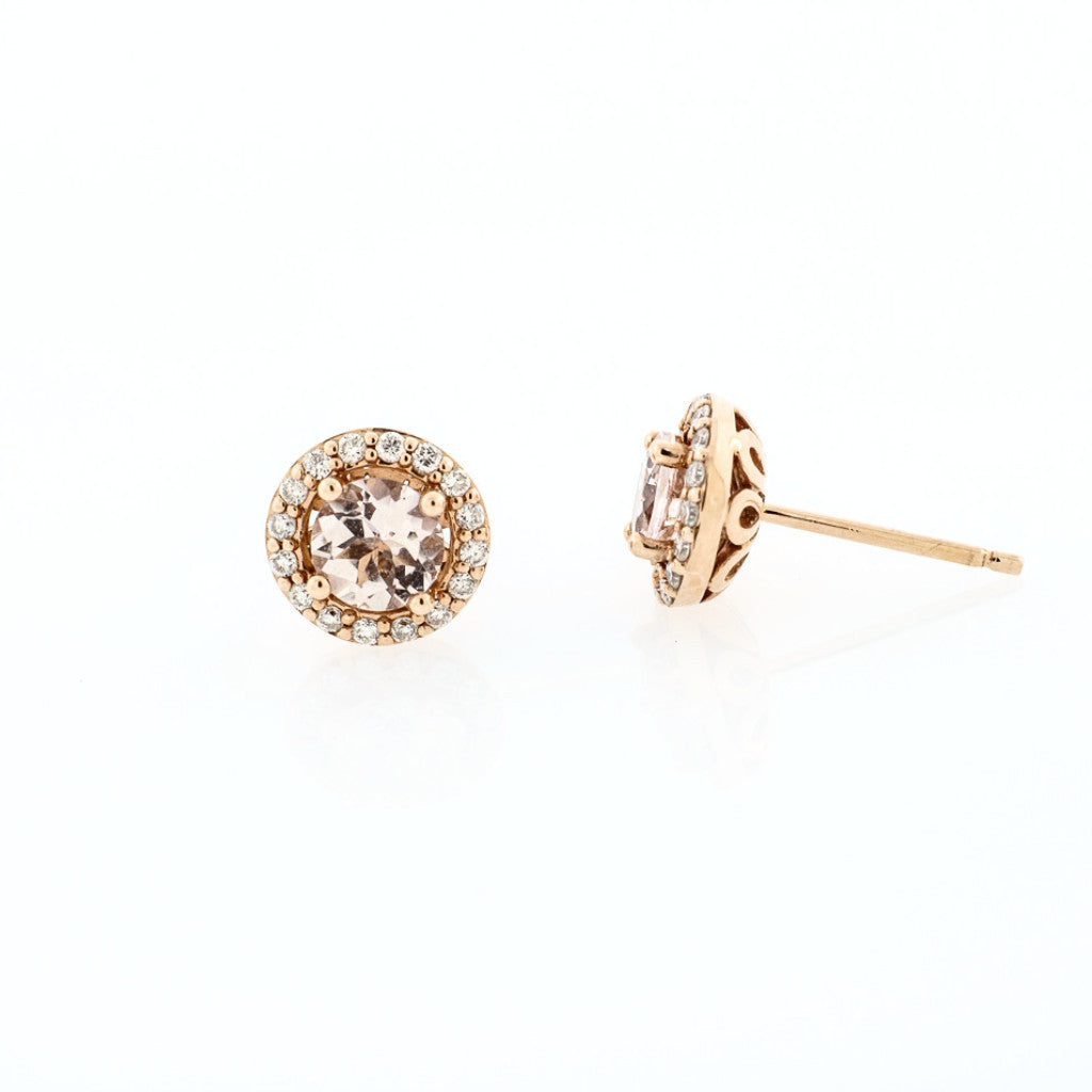 stud front halo earrings arden rose diamond morganite shop gifts with gold