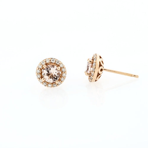 Morganite Stud Earrings with Diamond Halos