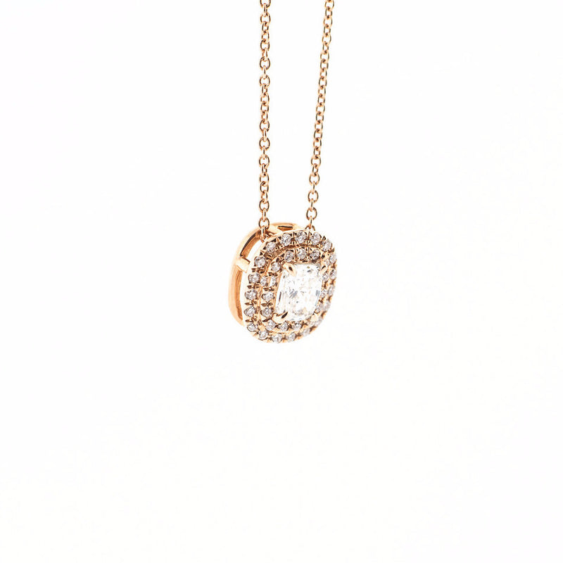 Cushion Diamond Pendant with Diamond Halo