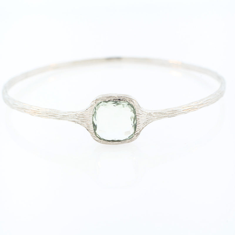 Sterling Silver and Green Amethyst Bangle