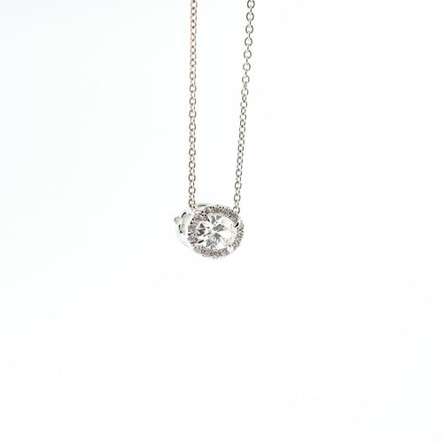 Oval Diamond Pendant with Diamond Halo
