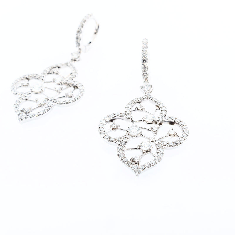 Clover Dangle Diamond Earrings