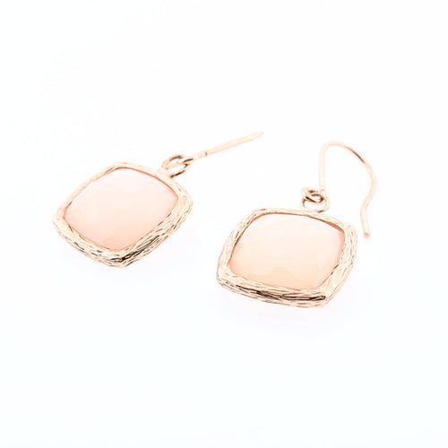 Pink Chalcedony Cushion Earrings