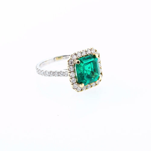 Emerald Ring with Diamond Halo