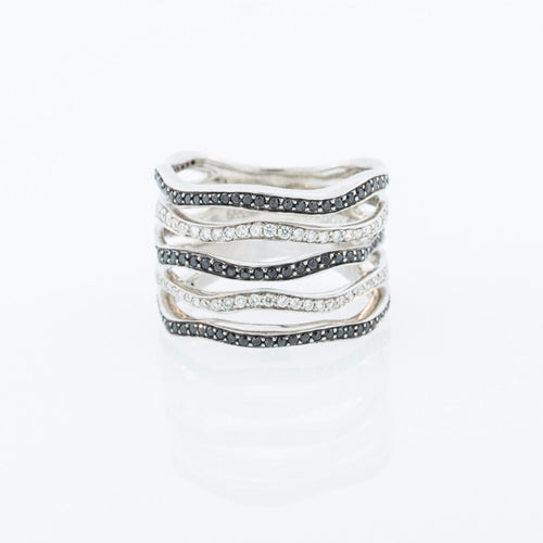 White and Black Diamond Banded Ring