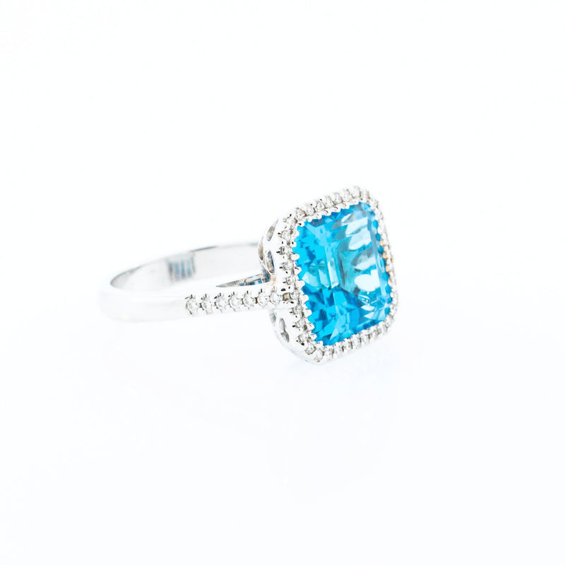 Square Cushion Blue Topaz with Diamond Halo