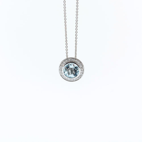 Topaz Pendant with Diamond Halo Necklace