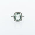 Green Amethyst Ring with Diamond Halo