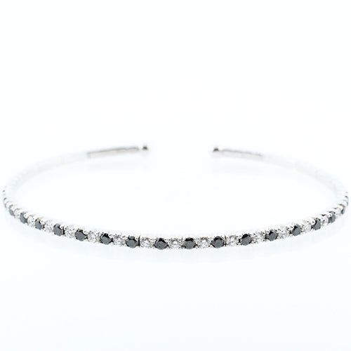 Black and White Diamond Cuff Bangle