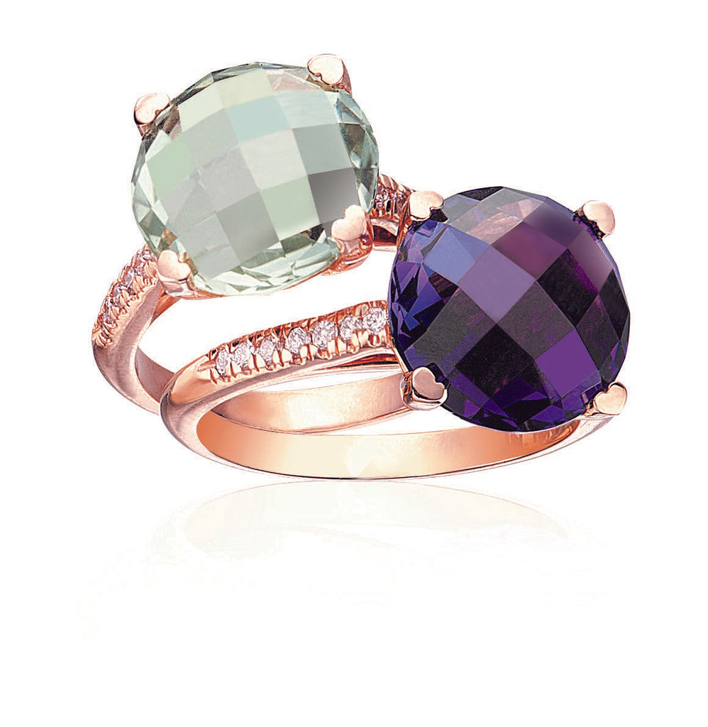 Green Quartz and Amethyst Ring with Diamonds