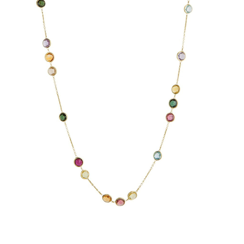18K Yellow Gold & Mixed Gemstones Small Bead Long Necklace