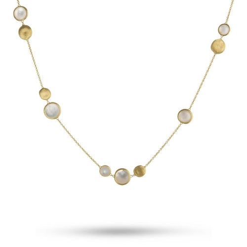 18K Yellow Gold Mixed Bead Mother Of Pearl Necklace