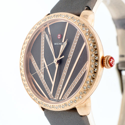 Serein Mid City Lights Diamond Rose Gold Watch with 16mm New Gray Strap