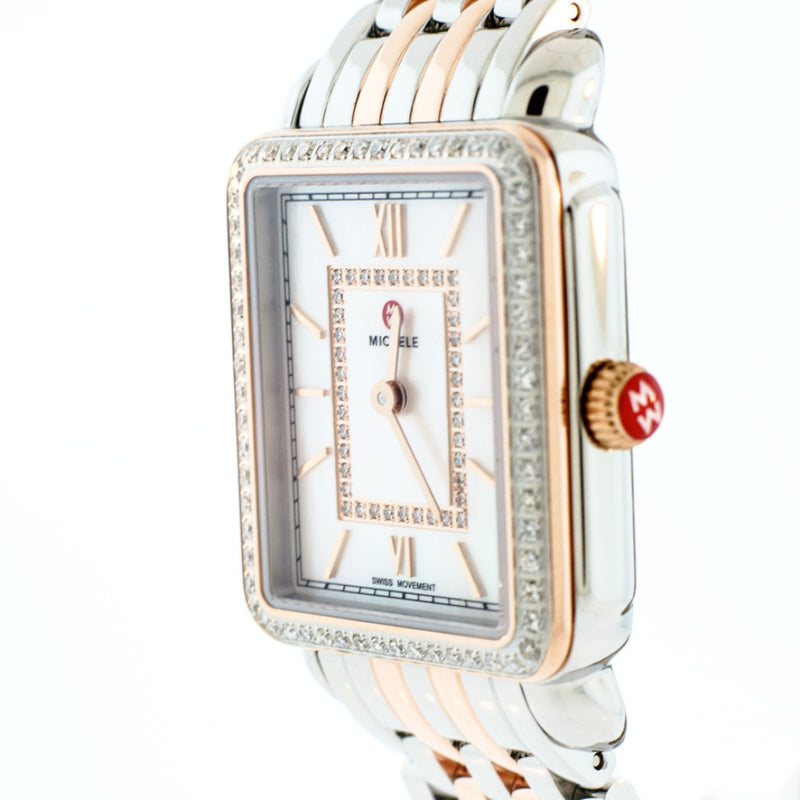 Deco II Mid Diamond Two-Tone Rose Gold, Diamond Dial Watch