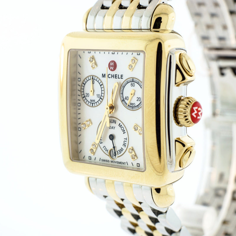Signature Deco Diamond Dial Gold Watch