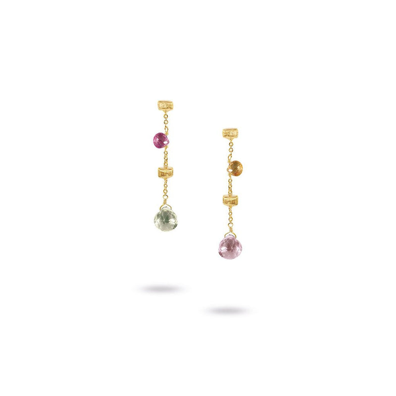 "18K Yellow Gold & Mixed Stone Short 1.33"" Drop Earrings"