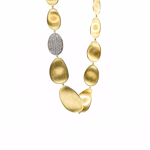 Marco Bicego Lunaria 18K Yellow Gold & Diamond Pave Small Single Station Collar Necklace