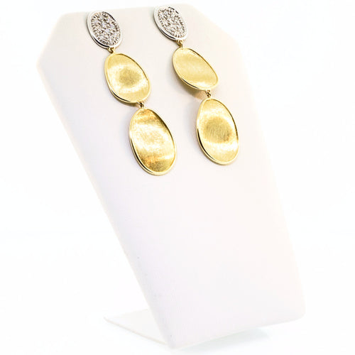18K Yellow Gold & Diamond Pave Small Triple Drop Earrings