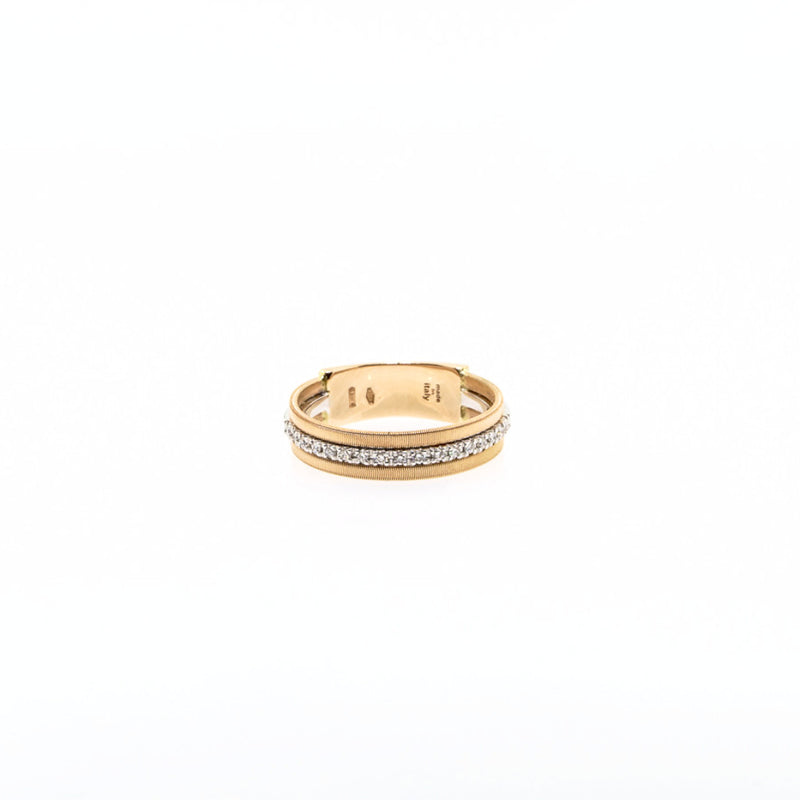 18K Rose Gold Three Row Single Pave Diamond Ring