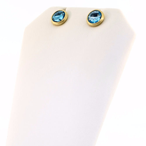 18K Yellow Gold & Blue Topaz Petite Stud Earrings