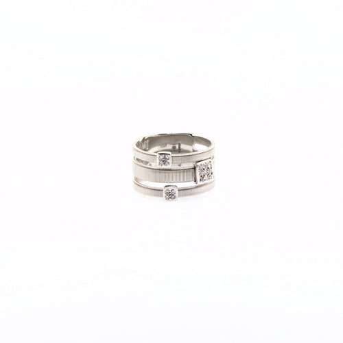 18K Three Strand Ring with Diamonds in White Gold
