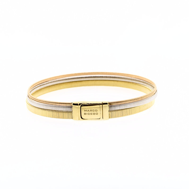 Marco Bicego Masai 18K Yellow, White, & Rose Gold Three Row Wide Bracelet