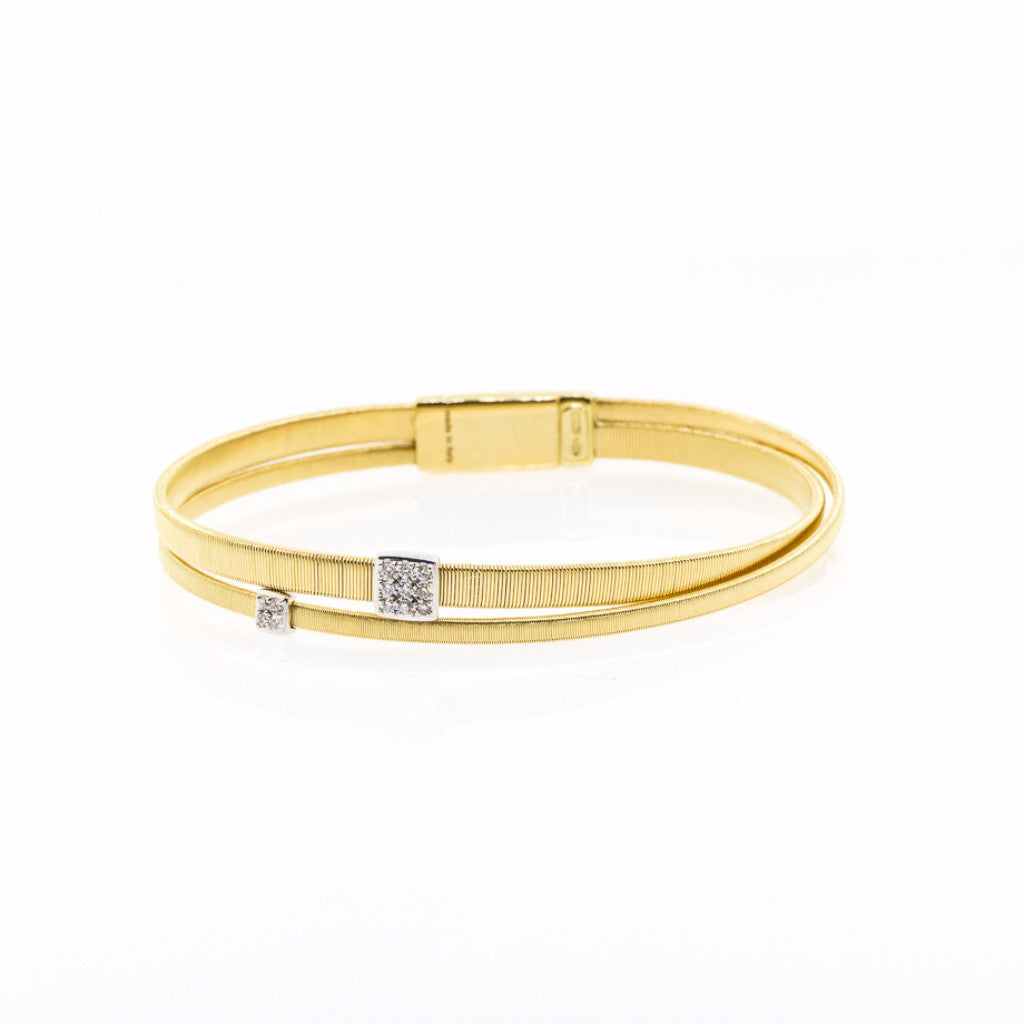 Marco Bicego Masai 18K Two Strand Crossover Diamond Bracelet in Yellow Gold