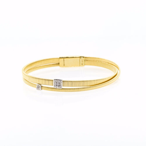 Marco Bicego 18K Two Strand Crossover Diamond Bracelet in Yellow Gold