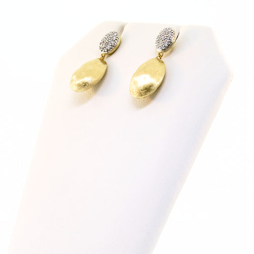 18K Yellow Gold & Diamond Pave Drop Earrings