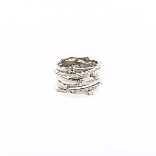 Marco Bicego Goa 18K White Gold Seven Strand Diamond & Pave Ring