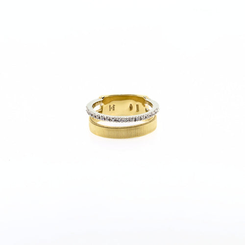 Marco Bicego Masai 18K Yellow & White Gold Two Row Pave Diamond Ring
