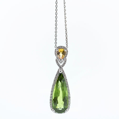 Pear Peridot and Pear Yellow Sapphire Necklace