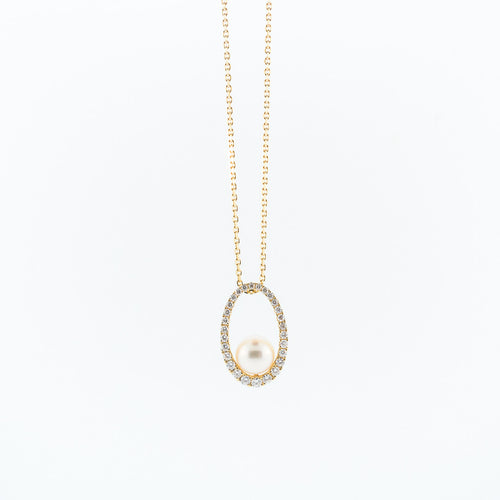 Cultured Pearl and Diamond Oval Pendant