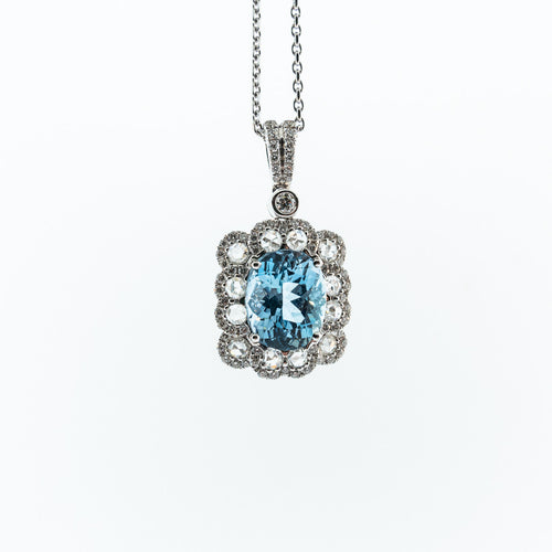 Oval Aqua and Diamond Pendant Necklace