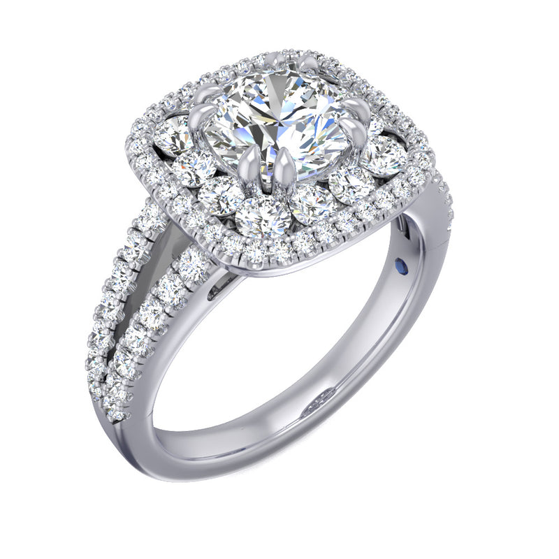 Fana Large Diamond Cushion Double Halo Engagement Ring