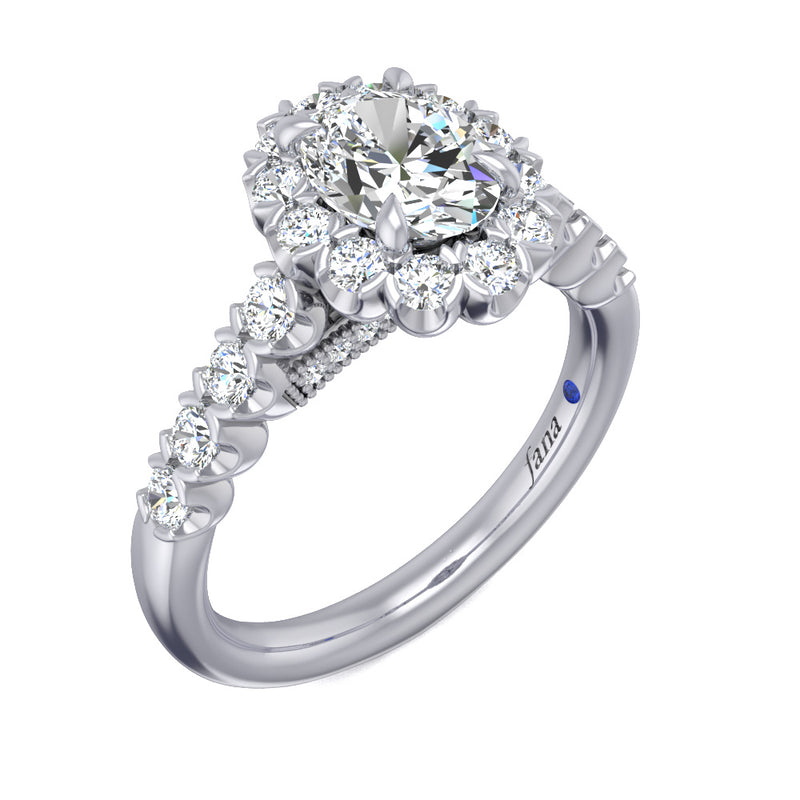 Fana Large Oval Halo Engagement Ring