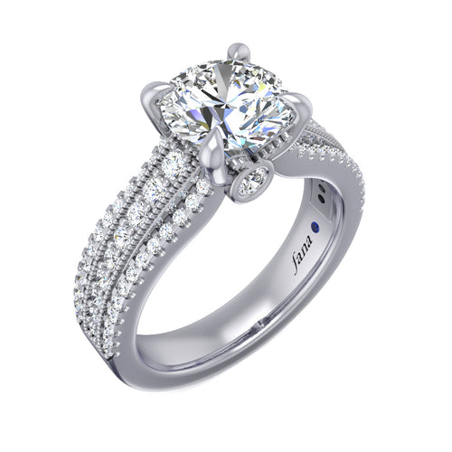 Fana Three Row Stepped Engagement Ring
